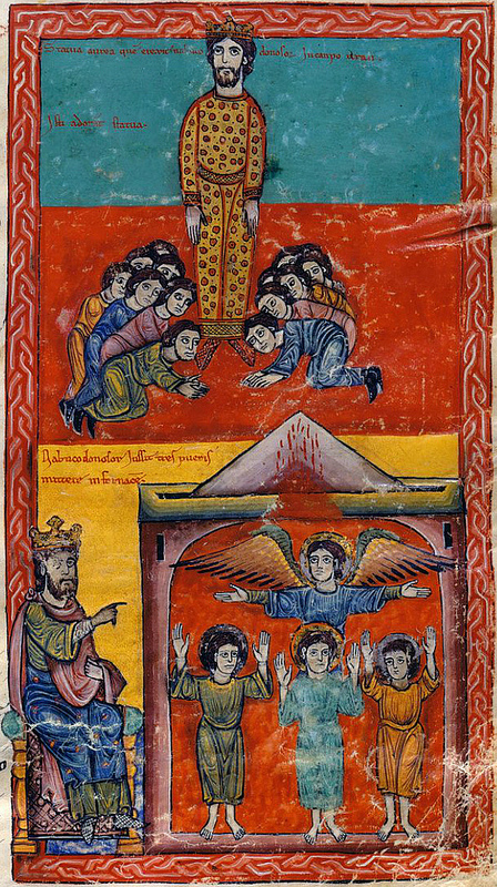 The worship of the golden Idol - The three youths in the furnace Beatus of Liebana Las Huelgas 1220